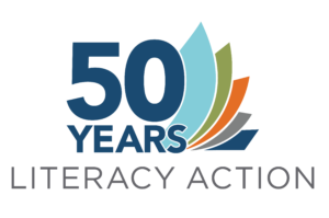 50 Years of Literacy Action logo