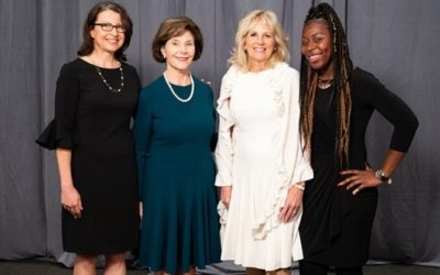 Literacy Action Executive Director Kerry McArdle and alumna Christina Reid with Laura Bush and Jill Biden at the Atlanta Women's Foundation annual luncheon