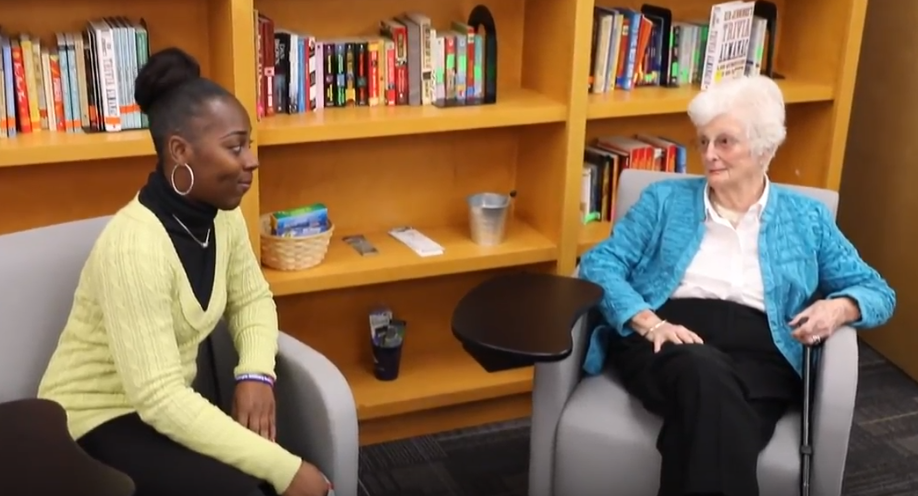 Literacy Action alumna Christina Reid speaks with Sue Wieland